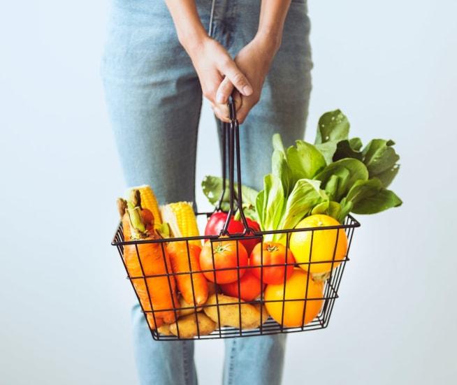 Shopping Basket full of fruit & vegetables